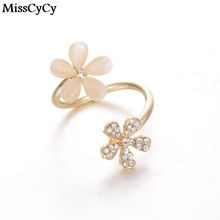 MissCyCy 2016 New Wholesale Fashion simulated pearl Daisy Rings For Women