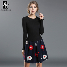 autumn winter runway designer womans dresses black knitted top dark blue bottom white red 3d flower applique fashion cute dress(China)