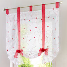 Curtain valance patterns floral small kitchen door voile organza curtain roman blinds new arrival(China)