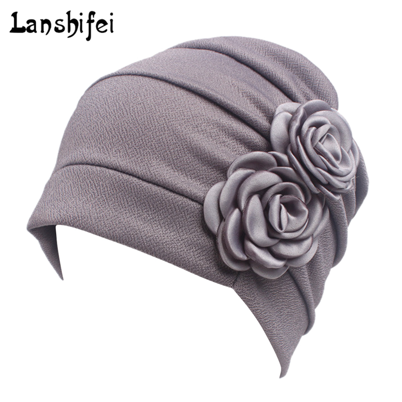 Women Large Flower Model Headscarf Chemotherapy Cap Western Style Ruffle Cancer Chemo Hat Beanie Scarf Turban Wrap hedging Cap(China)