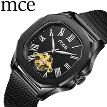 Men's Watches Men Clock Relogio Masculino Automatic Mechanical Square Stainless Watches Skeleton Hollow MCE Man Tourbillon Watch(China)
