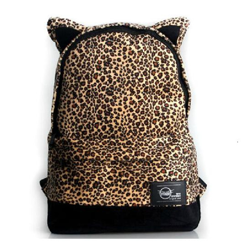 Popular fashion new Epiphqny leopard cat ears one shoulder hand shoulders canvas laptop bag institute wind female bag<br>