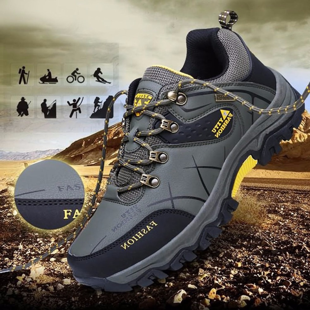 Outdoor Lace-up Hiking Boots Sport Mens Shoes For Camping Climbing Mountain Non-slip Breathable Shoes Wholesale New<br>