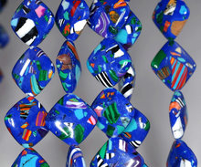 18mm Matrix Turquoise Gemstone Dark Blue Mosaic Diamond Square Loose Beads 7 inch half Strand (90145209-214)
