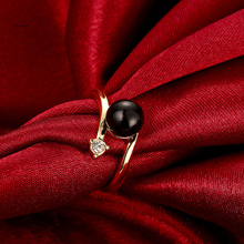 Black Pearl Gold Rings for Women Personalized Jewelry Finger Ring AKR068