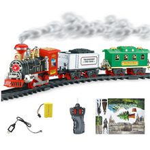 Classic Train Set for Kids with Smoke Realistic Sounds Light Remote Control Railway Car Train Christmas New YearGift Toy(China)