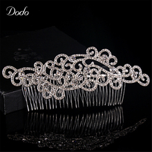 Wedding Hair Crab Handmade Hot Design Austrian Crystal Wave Shape Concise Clear For Women Prom Wedding Jewelry HairPin Comb HA7(China)