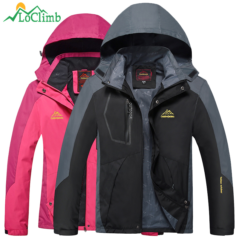 LoClimb Camping Hiking Jackets Women Men Outdoor Climbing Mountain Rain Coat Trekking Sport Windbreaker Waterproof Jacket,AM017<br>