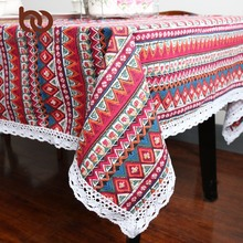 BeddingOutlet Red Boho Tablecloth Geometric Bohemian Dining Table Cloth With Lace Cotton And Linen Multi Sizes Lacy Table Cover(China)