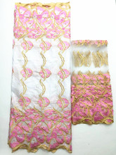 white and pink bazin riche getzner african fabric with muslim net scarf french lace blouses cheap fabric china 5+2yard/lotLYB-31