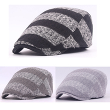 Men Knitted Crochet Stripe Cotton Hat Beret Peaked Driving Cabbie Newsboy Cap   HATCS0142
