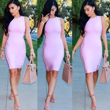wholesale 2016 New Dress Lavender Stretch tight Fashion casual woman Cocktail party Bandage dress (L1383)