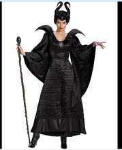 Fairy Tale Sleeping Beauty Curse Witchcraft Black Dress Horns Movie Maleficent Costume Adult Women Halloween Witch Cosplay(China)
