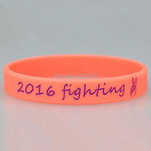 300pcs Custom 2016 fighting silicone wristband rubber bracelets free shipping by DHL express