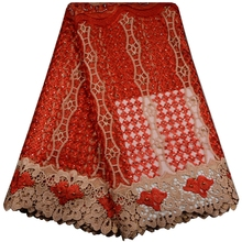 2017 African Cord Lace High Quality French Lace Fabric with Plenty Stones Red Color African Lace Fabric For Nigerian Wedding