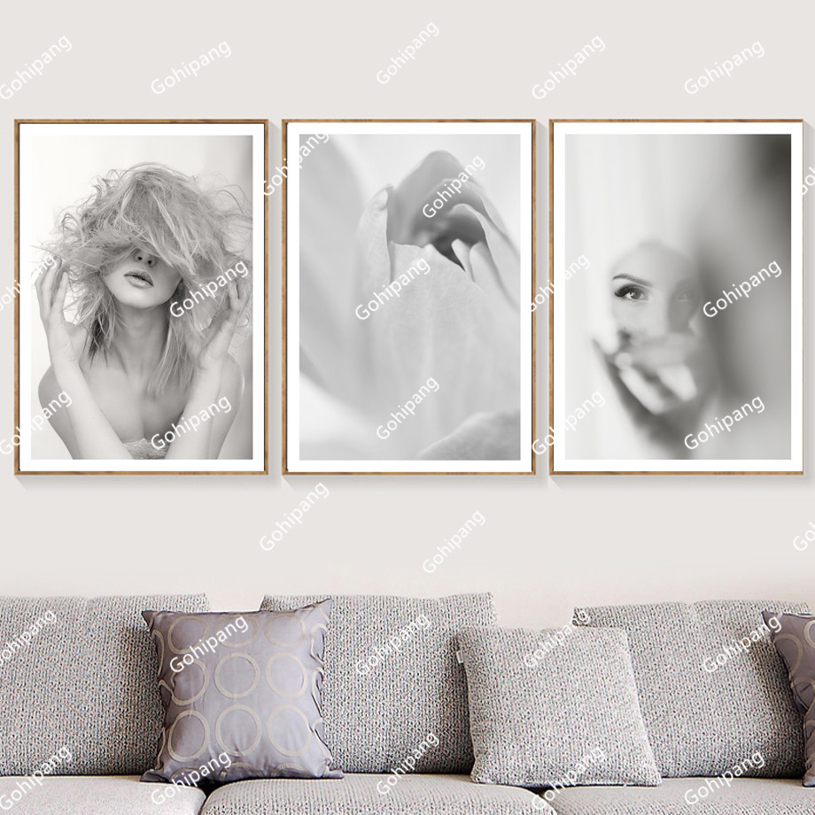 Abstract Flower Girl Nordic Posters And Prints Wall Art Canvas Painting Retro Poster Pop Art Wall Pictures For Living Room Decor