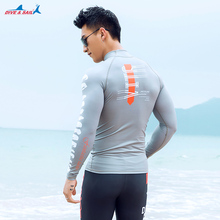 Men's Long-Sleeve Quick-Dry UPF 50 Swim Tee Skin Wetsuits UV Sun Protection Mens Skins Crew Sun Shirt Rash Guard