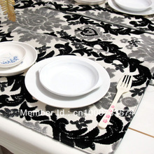 free shipping wholesale Table runner fashion luxury quality terry cloth lucky flower dining coffee table flag placemat table mat
