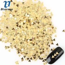 1Pack 5*5 mm Glitter Nail Studs Gold Alloy Japanese Rivet Style 3D Nail Art Decoration Scrub Triangle Design Accessory PJ491(China)