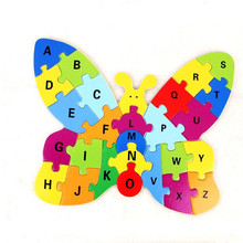 80X Puzzle Games Wood Butterfly Letter A-Z Case Multicolored Kids Baby Educational Toy(China)
