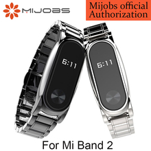 Mijobs Metal Strap For Original Xiaomi Mi Band 2 Strap Stainless Steel Bracelet Wristbands Replace Accessories For Mi Band 2(China)