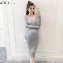 Afeitony 2017 autumn maternity sweater dress pullover knitted one-piece dress fashion autumn and winter V-neck(China)