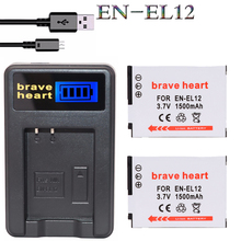 2x bateria EN EL12 EN-EL12 ENEL12 Battery +LCD USB charger For Nikon Coolpix S610 S620 S710 S9300 S9500 S8000 S800C S8100 Camera(China)