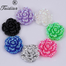 Plastic AB Rose Flower Accessories Resin Glitter Flower Plastic AB Cabochons Flower 15mm 100pcs/lot(China)