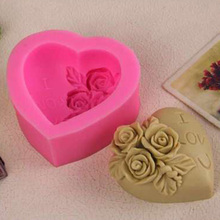 3D Silicone Chocolate Mould Heart Love Rose Flower cake Mold Candle Polymer Clay Molds Crafts DIY Forms For Cheap cake Base Tool(China)