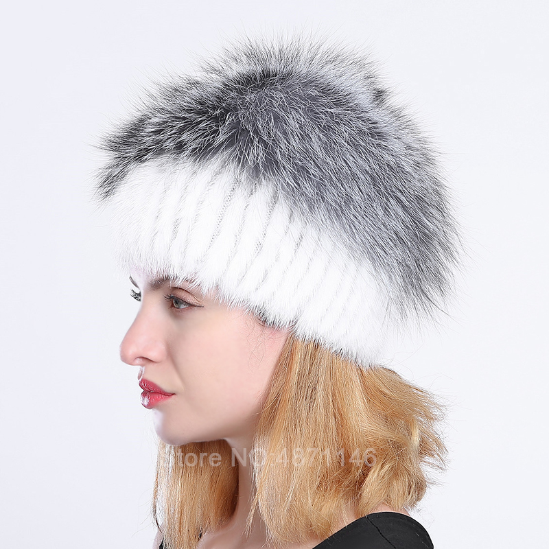Women  Autumn winter female lady girl real Mink knitting fur hat woollen lining Silver fox fur ornament hats Skullies Beanies