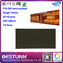 semi-outdoor LED display module p10 DIP single yellow 32*16 pixel led panel board led taxi top sign electronic open sign diy kit