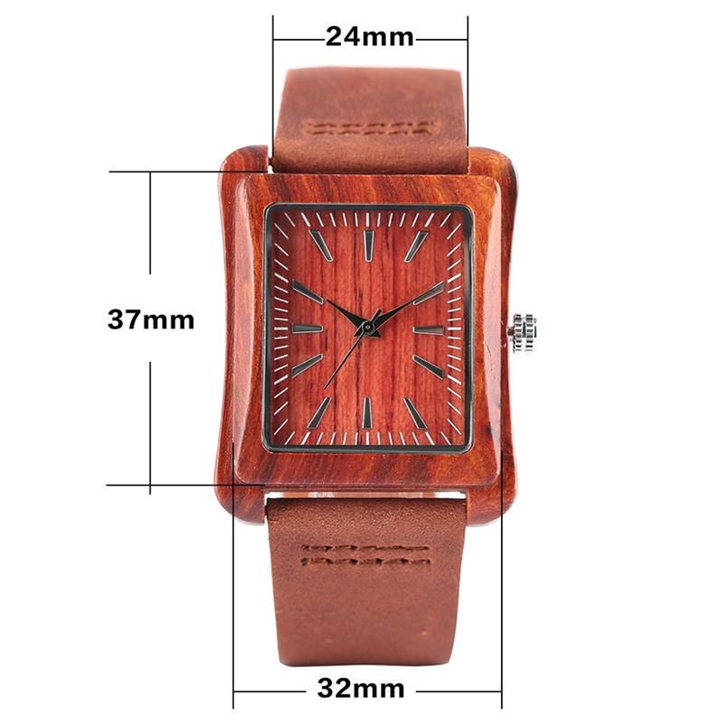 Creative Rectangle Dial Wood Watch Natural Handmade Light Bamboo Fashion Men Women Casual Quartz Wristwatch Genuine Leather Gift 1