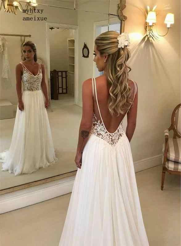 Sexy Backless Boho A Line Deep V Neck See Through Top Lace Summer Beach Bridal Gown Plus Size Cheap Simple Wedding Dress 2020 Aliexpress,Short Wedding Dresses 2020