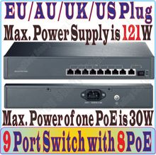 9 port 8 poe Gigabit 1000M switch IEEE802.3af at PoE suit for all kind of poe camera / AP, Network Switches Plug&Play 1*SFP port(China)