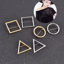 Fashion Punk Circle Square Triangle Shape Geometric Costume Brooch Pin  Women Jewelry Daily Supplies