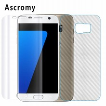 For Samsung Galaxy S7 galaxi Screen Protector Ascromy Front Full Cover Clear Carbon Fiber Back Skin Flim Shield ScreenProtector