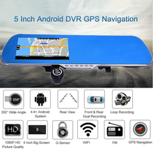 "5"" 1080P Android 4.4 Car DVR Driving Recorder With Front Rear Dual Lens GPS Navigation+Backing Rearview+WIFI +FM Transmitter"