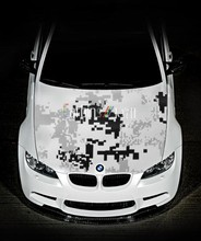 Black and white camouflage vinyl wrap, Pixel camouflage film wrap for car. Glossy and Matte available