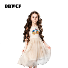 BRWCF Baby Girls Summer Dresses 2017 Brand Cartoon car Print Kids Birthday Dress Princess Bow tie Costume for Children Clothing(China)