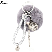 Handbag Accessories Candy Colors Fur Ball Girl Charm Pendant Ring Holders Llaveros Mujer #7515(China)