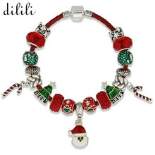 DILILI Fashion Antique Silver Charm Bracelet Femme Red Glass Beads Bracelets & Bangles For Women Jewelry Christmas Gift xsb672