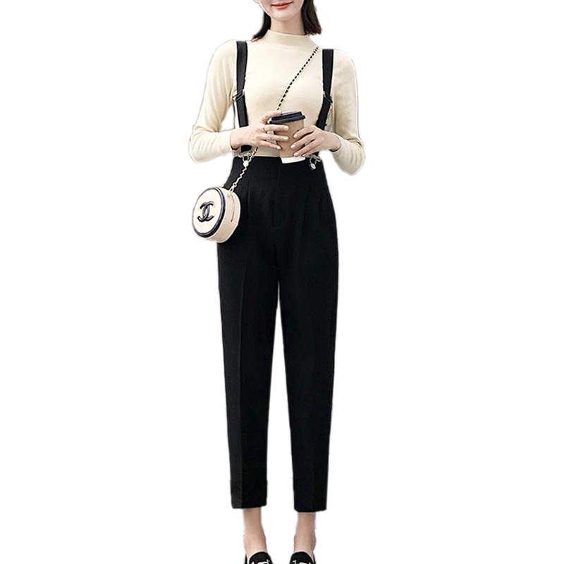 Korean Loose Jumpsuit Black Harem Pants High Waist Strap Trouser Women Overalls Fashion 2018 Autumn Winter Grey Bib Pants S-XXL