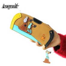 Aequee Long Wallet Women PU Leather Cute Cartoon Dog Wallets Lady Coin Purse Zipper Card Holder Round Puppy Change Purses Tassel