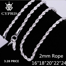 11.11 SUPER DEAL Retail Wholesale silver Chain Necklace Women Man necklace 2mm Rope Chain 925  jewelry findings accesory 925