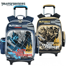 THE TRANSFORMERS CHILDREN KIDS ROLLING BACKPACK TROLLEY WHEELS SCHOOL BAG PORTFOLIO FOR BOYS GRADE 1-2