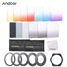 Andoer 13pcs Square Gradient Full Color Filter Kit for Cokin P Series with Filter Holder Adapter Ring Cleaning Cloth Storage Bag(China)