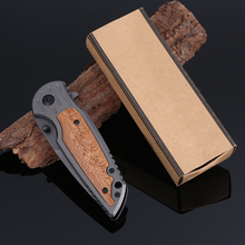 2017 New Sharp Gray Titanium Knife Folding Tactical Survival Knife Hunting Pocket Knife Wood Handle 001714#