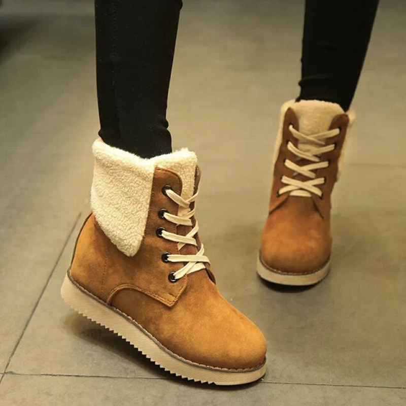 2017 Winter Fashion Frosted Rivet Women Boots Flat Round Sweet Lace Ankle Boots Womens Shoes Black Brown Red Platform Boots ZK2<br><br>Aliexpress