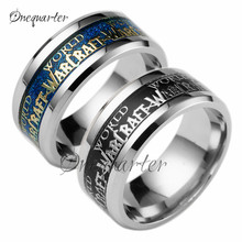 2017 Hot Game Around Men Ring WOW Letter Cool Punk Titanium Steel Ring Blue and Gold Jewelry for Fans Teammate Gift(China)