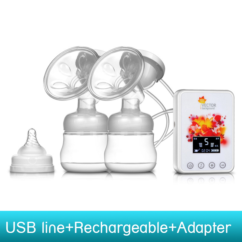 USB electric Rechargeable double breast pumps baby BPA Free Postpartum Breast feeding Breast milk suckers breast pump<br><br>Aliexpress